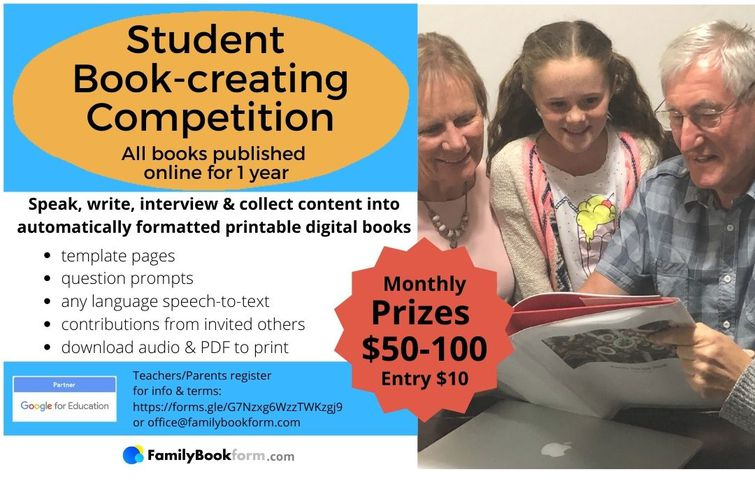 Book-creating Competition, monthly cash prizes